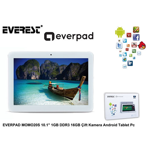 Everest Everpad Momo20S 10.1''/1.2Ghz/1Gb/16Gb/and.blutooth Wifi 0.3Mp/2Mp Beyaz Tablet