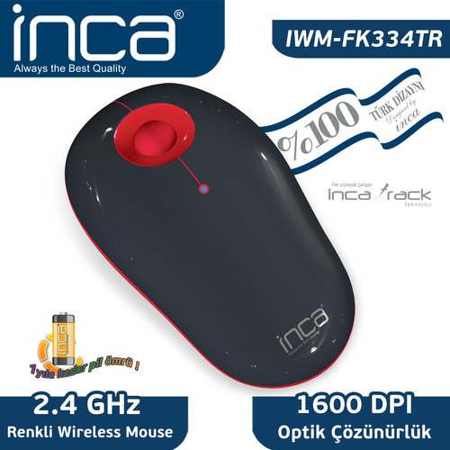 Inca Iwm-Fk334Tr 1600Dpi 2.4Ghz Wireless Optik Siyah Kirmizi Mouse